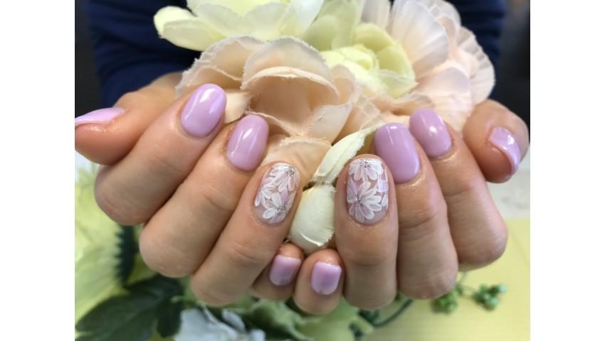 パープルとお花ネイル